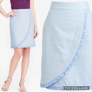 J. Crew Light Pale Blue Oxford Ruffle Pencil Skirt